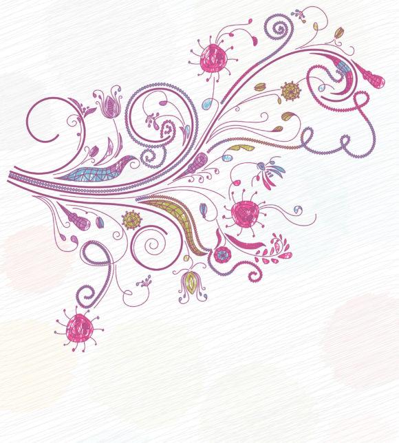 Awesome Vector Vector Artwork: Doodles Floral Background Vector Artwork Illustration 11 01 2010 25