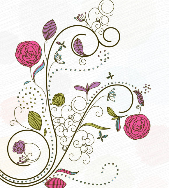 Vector Vector Background Doodles Floral Background Vector Illustration 5