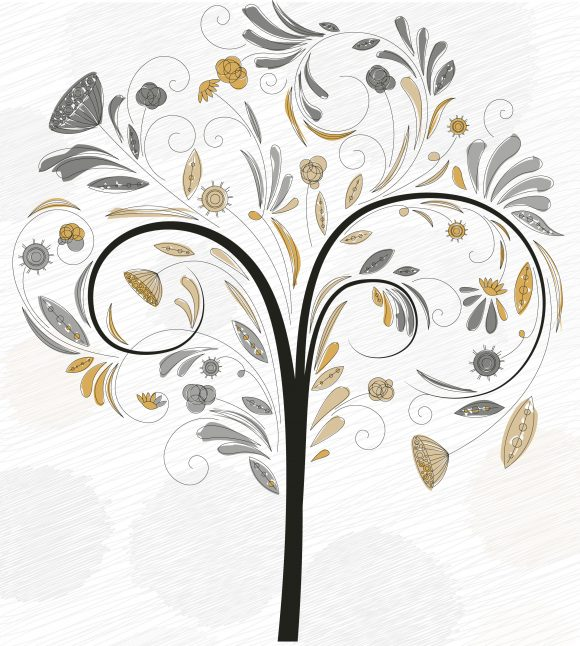 Awesome Doodles Vector Artwork: Doodles Background With Colorful Tree Vector Artwork Illustration 5