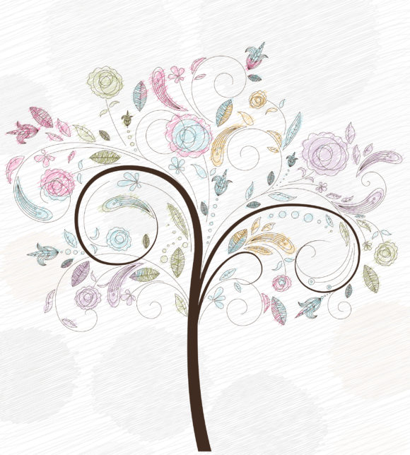 Special Illustration Vector Image: Doodles Background With Colorful Tree Vector Image Illustration 11 01 2010 5