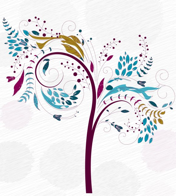 Doodles Background With Colorful Tree Vector Illustration 11 01 2010 7