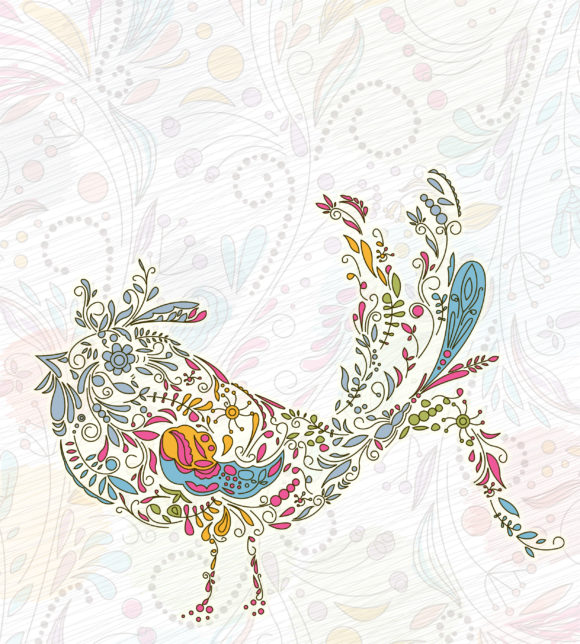 Amazing Illustration Vector: Doodles Background With Colorful Bird Vector Illustration 11 01 2010 9