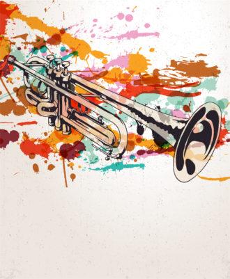Retro Splatter Music Background Vector Illustration Vector Illustrations old