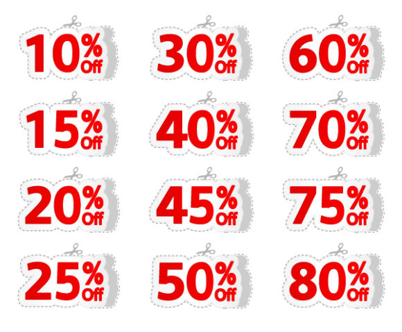 Stunning Discount Vector Background: Vector Background Discount Labels Set 5