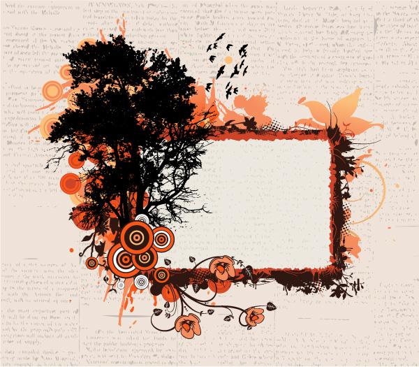 Vector Grunge Floral Frame Vector Illustrations tree
