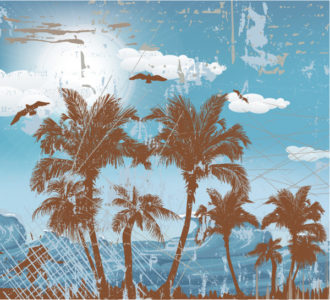 Grunge Summer Background Vector Illustration Vector Illustrations palm