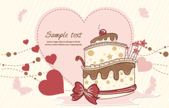 Lovely With Vector: Cake With Hearts Vector Illustration 1