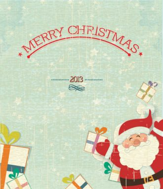 Christmas Vector Illustration With Santa Sticker And Gift Vector Illustrations vector