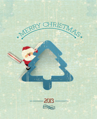 Christmas Vector Illustration With Santa Sticker And Christmas Tree Vector Illustrations tree