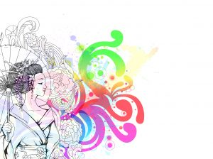 Vector Japanese Illustration With Geisha Vector Illustrations floral
