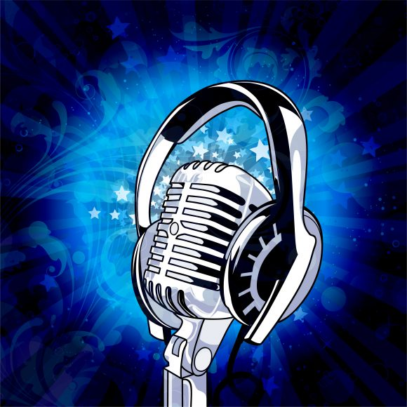 Circles Vector Design: Vector Design Music Background With Microphone 1