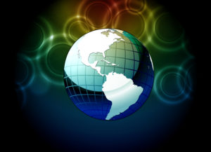 Vector Earth Globe With Bokeh Background Vector Illustrations ball