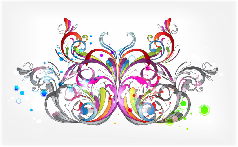 Vector Butterfly With Circles Vector Illustrations floral