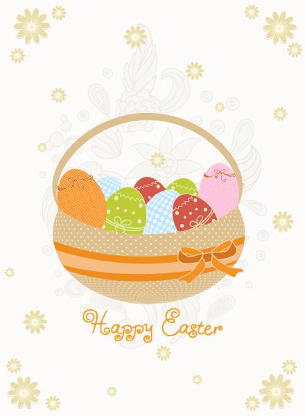 Basket Of Eggs Vector Illustration Vector Illustrations floral