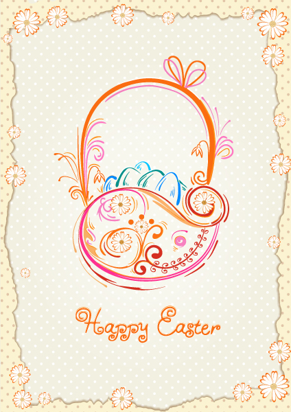 Basket Of Eggs Vector Illustration Vector Illustrations floral
