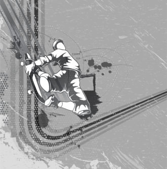 Vector Skater With Grunge Background Vector Illustrations urban