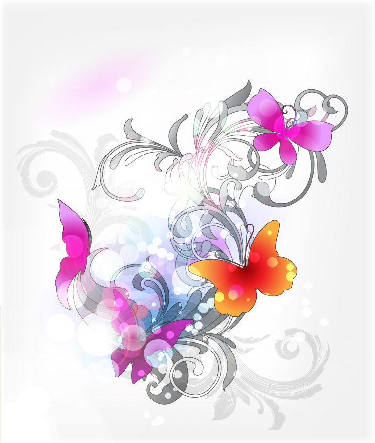 Vector Abstract Floral Background With Butterflies Vector Illustrations floral