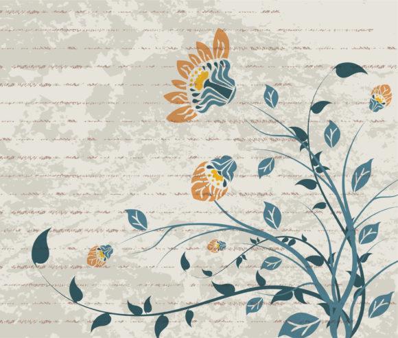 Vintage Vector Image: Vintage Floral Background Vector Image Illustration 1