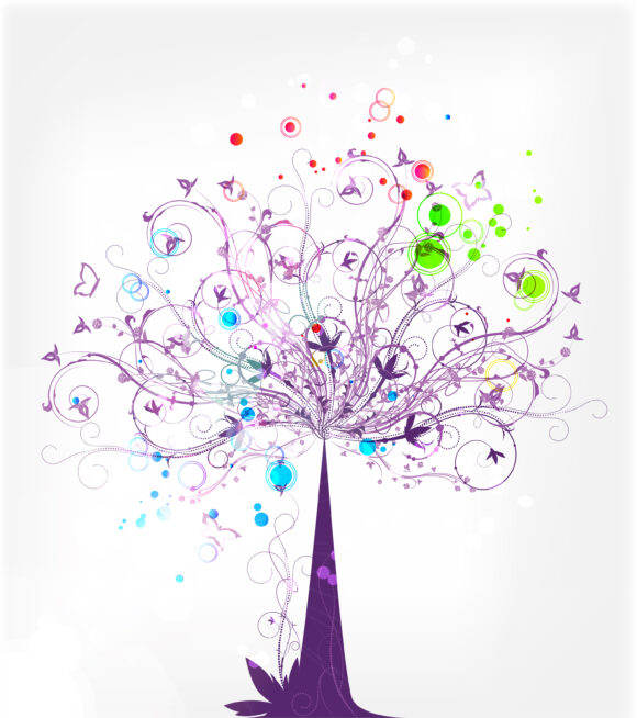 Vector abstract background with colorful tree 11 23 2010 63