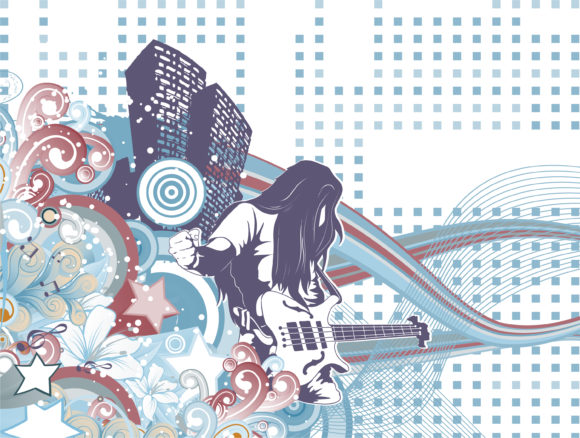Vector music background with guitar player Vector Illustrations star