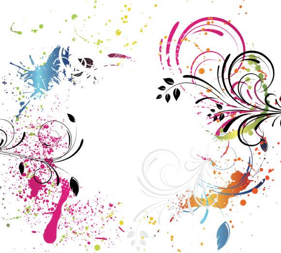 Striking Floral Vector Graphic: Grunge Floral Background Vector Graphic Illustration 1