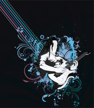 Vector music background with guitar player Vector Illustrations old