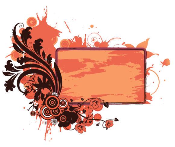 Trendy Grunge Vector Design: Grunge Floral Frame Vector Design Illustration 1