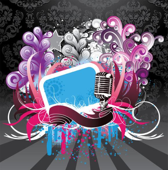 Vector Vector Art: Vector Art Music Background With Microphone 1
