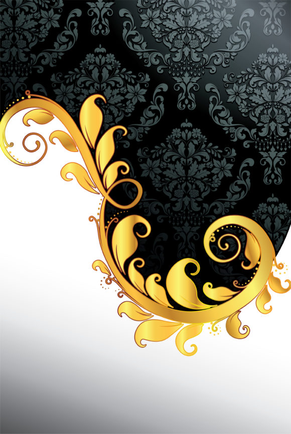 Vector Damask Background With Gold Floral 11 25 2010 21