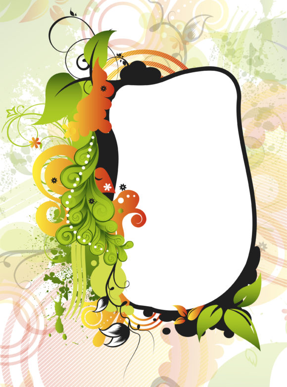 Leaf Vector Illustration Vector Grunge Floral Frame 1