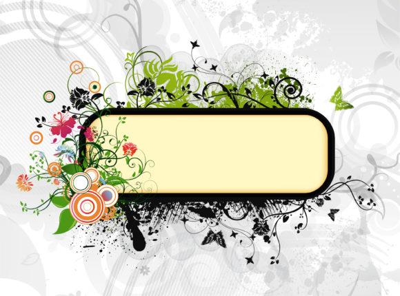 Grunge, Vector Vector Graphic Vector Grunge Floral Frame 1