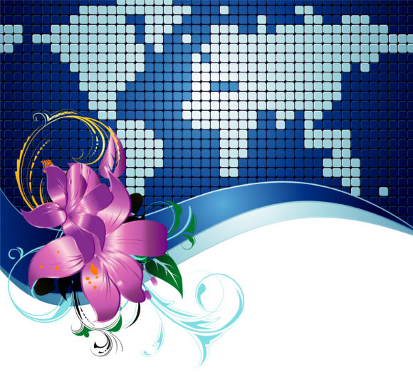 Vector Vector Vector Abstract World Map With Floral 5