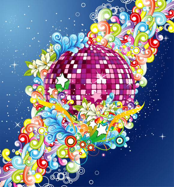 Floral Vector Image: Vector Image Discoball With Floral 5