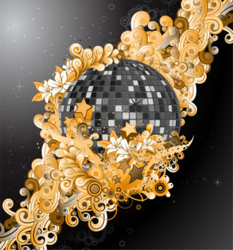 Vector Discoball With Floral Vector Illustrations star