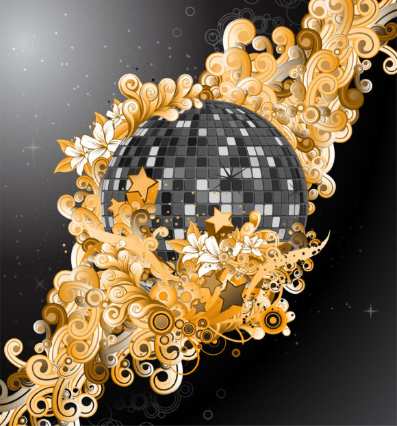 Floral Vector Art: Vector Art Discoball With Floral 11 25 2010 71