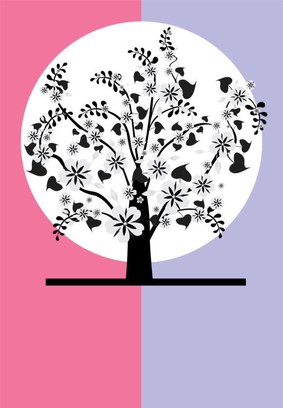 Retro, Tree Vector Art Vector Retro Background With Tree 1