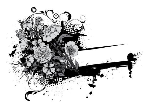 Vector, Illustration Vector Background Grunge Floral Frame Vector Illustration 5