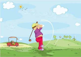 Young Golfer Vector Illustrations ball