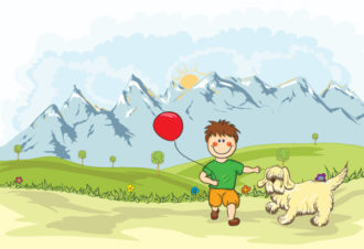 Funny Kid Playing With A Dog On The Mountain Side Vector Illustrations animal
