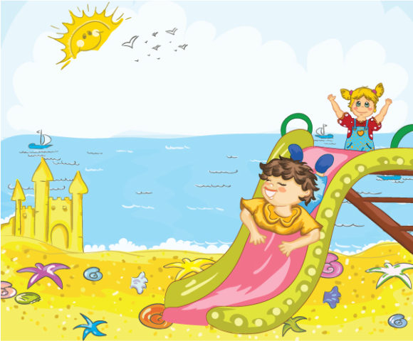 Kids Playing On The Beach Vector Illustrations ocean