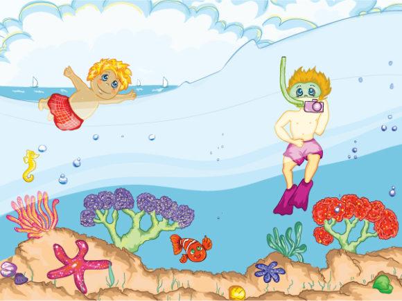 Cartoon-2, Vector Vector Image Kids Swimming Vector Illustration 5