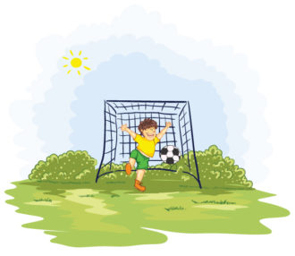 Kid Playing Soccer Vector Illustrations ball
