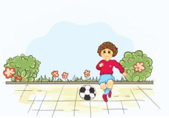 Kid Playing Soccer Vector Illustrations ball
