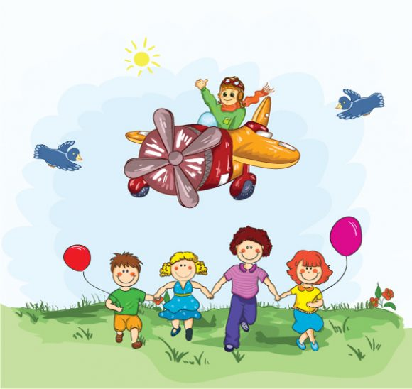 Plane Vector Background: Cute Kid Flying With A Plane 5