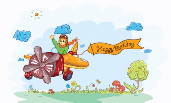 Cute Kid Flying With A Plane Vector Illustrations vector