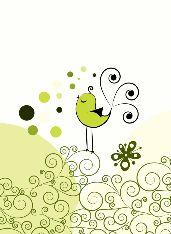 Brilliant Abstract Vector Art: Vector Art Abstract Bird With Floral 5