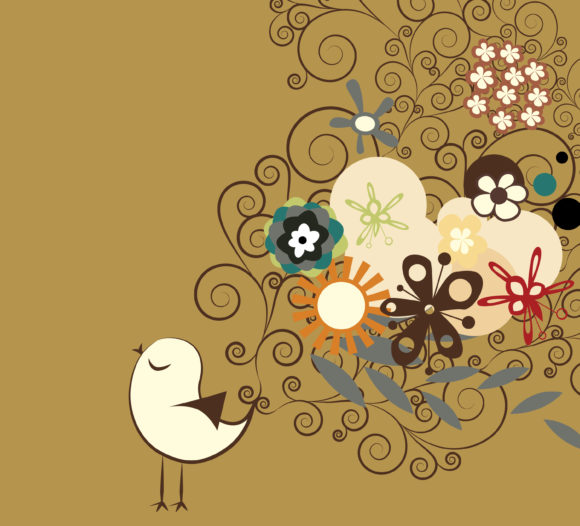 Bird, With, Plant Vector Design Vector Abstract Bird With Floral 12 01 2010 87