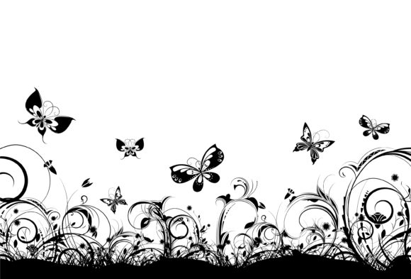 Vector, Plant, Floral Vector Art Vector Floral Background With Butterflies 12 01 2010 91