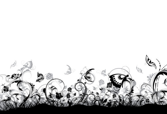 Unique Illustration Eps Vector: Eps Vector Floral Background With Butterflies 12 01 2010 93