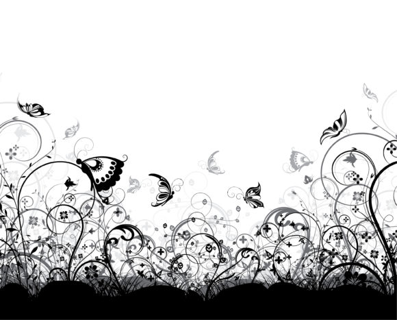Vector Vector Background: Vector Background Floral Background With Butterflies 5
